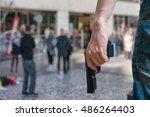 armed man  attacker  holds... | Shutterstock . vector #486264403