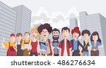 group of business cartoon young ...