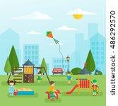 playground with children flat...   Shutterstock .eps vector #486292570