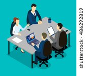 teamwork isometric concept with ... | Shutterstock .eps vector #486292819