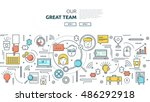 great team horizontal linear... | Shutterstock .eps vector #486292918