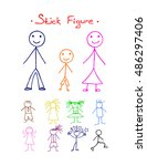 colors stick figure  on white... | Shutterstock .eps vector #486297406