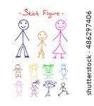 colors stick figure  on white... | Shutterstock .eps vector #486297406