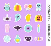halloween party stickers set.... | Shutterstock .eps vector #486298300