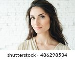 beautiful friendly smiling... | Shutterstock . vector #486298534