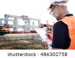 architect contractor... | Shutterstock . vector #486302758