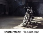 vintage motorcycle standing in...   Shutterstock . vector #486306400