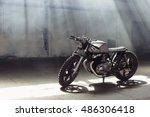 vintage motorcycle standing in... | Shutterstock . vector #486306418