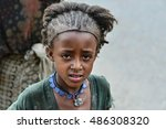 Small photo of LALIBELA, ETHIOPIA, - NOVEMBER, 2016. PORTRAIT OF A GIRL FROM THE ETHNIC GROUP AMHARA