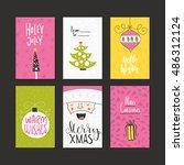 christmas greeting card... | Shutterstock .eps vector #486312124