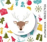 reindeer inside circle icon.... | Shutterstock .eps vector #486317416