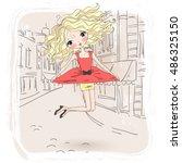 hand drawn beautiful cute girl  ...   Shutterstock .eps vector #486325150