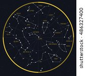 night sky with constellations | Shutterstock .eps vector #486327400