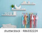 shelves with hanger in modern... | Shutterstock . vector #486332224