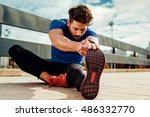 young male jogger athlete... | Shutterstock . vector #486332770