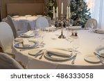 rich christmas dinner table... | Shutterstock . vector #486333058