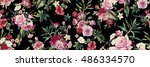 Stock photo seamless floral pattern with flowers watercolor 486334570