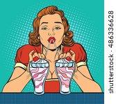 woman drinking milkshake ice... | Shutterstock .eps vector #486336628