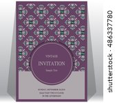 wedding invitation or card with ... | Shutterstock .eps vector #486337780