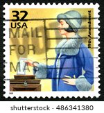 Small photo of UNITED STATES OF AMERICA - CIRCA 1998: A used postage stamp from the USA, celebrating the 19th Amendment - the female right to vote, circa 1998.