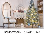 beautiful christmas interior... | Shutterstock . vector #486342160