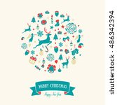 christmas round ornaments... | Shutterstock .eps vector #486342394