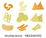 kinds of chips or crisp junk... | Shutterstock .eps vector #486346450