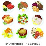 set of food on a plate   b | Shutterstock .eps vector #48634837
