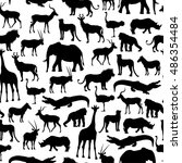 pattern with silhouettes of... | Shutterstock .eps vector #486354484