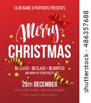 merry christmas party poster.... | Shutterstock .eps vector #486357688