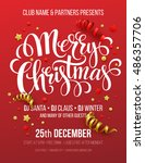 merry christmas party poster.... | Shutterstock .eps vector #486357706