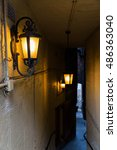 Small photo of dark close in Edinburgh, Scotland, a narrow alleyway linked to the Royal Mile