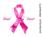 pink ribbon  breast cancer ... | Shutterstock .eps vector #486366373
