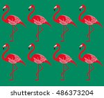 flamingo  vector pattern | Shutterstock .eps vector #486373204