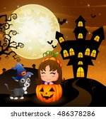 halloween background with... | Shutterstock .eps vector #486378286