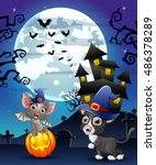 halloween background with child ... | Shutterstock . vector #486378289