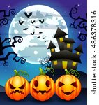 halloween background with... | Shutterstock . vector #486378316