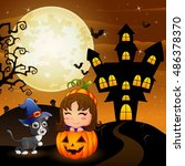 halloween background with... | Shutterstock . vector #486378370