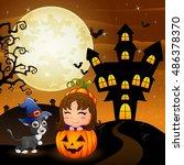 halloween background with...   Shutterstock . vector #486378370