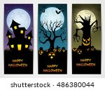 Three Halloween Banners With...