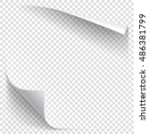 white gradient paper curl with... | Shutterstock .eps vector #486381799