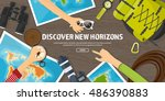 travel tourism vector... | Shutterstock .eps vector #486390883