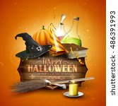 halloween background or card... | Shutterstock .eps vector #486391993