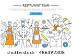 restaurant team characters with ... | Shutterstock .eps vector #486392308