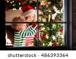 happy little kids in matching... | Shutterstock . vector #486393364