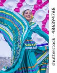 Small photo of GUADALAJARA , MEXICO - AUG 28 : Dancer Participates at the 23rd International Mariachi & Charros festival in Guadalajara Mexico on August 28 , 2016.