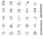 coffee shop line icons with... | Shutterstock .eps vector #486394990