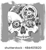 human skull with clockwork... | Shutterstock .eps vector #486405820