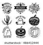 set of halloween stylish logos... | Shutterstock .eps vector #486412444