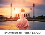 veiled islamic woman wearing a... | Shutterstock . vector #486412720